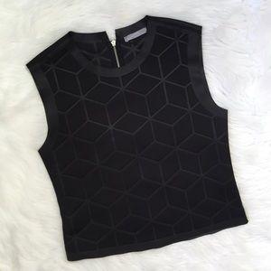 Zara Black Geometric Neoprene Scuba Tank Top